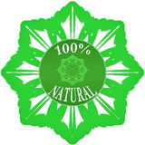 100% nature label. 100 percent natural badge on white background stock illustration