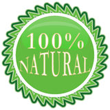 100% nature label. 100 percent natural badge on white background vector illustration