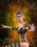 Nature, Lady, Beauty, Leaf royalty free stock photos