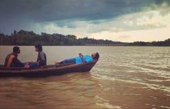 Journey by boat at kaptai lake. royalty free stock photos