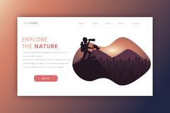 Nature landing page vector illustration