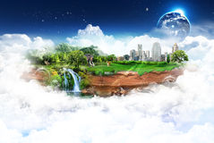 Nature landscape. With the different elements on its surface Elements of this image furnished by NASA Royalty Free Stock Photo