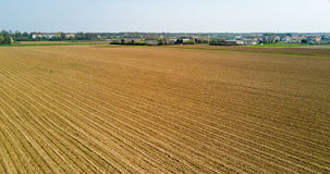 Nature and landscape: aerial view of a field, cultivation, countryside, farming, Royalty Free Stock Images