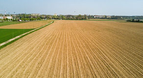 Nature and landscape: aerial view of a field, cultivation, countryside, farming, Royalty Free Stock Photos
