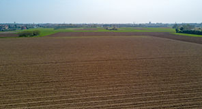 Nature and landscape: aerial view of a field, cultivation, countryside, farming, green grass, Stock Photography