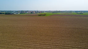 Nature and landscape: aerial view of a field, cultivation, countryside, farming, green grass, Royalty Free Stock Photos
