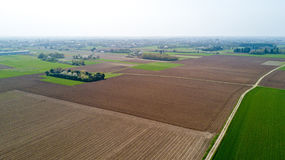 Nature and landscape: aerial view of a field, cultivation, countryside, farming, green grass, Stock Images
