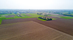 Nature and landscape: aerial view of a field, cultivation, countryside, farming, green grass, Royalty Free Stock Photo