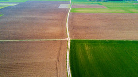 Nature and landscape: aerial view of a field, cultivation, countryside, farming, green grass, Royalty Free Stock Images