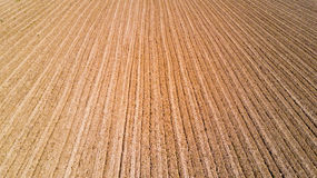 Nature and landscape: aerial view of a field, cultivation, dry, arid, countryside, farming, Royalty Free Stock Images
