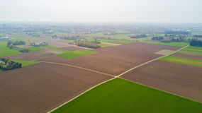 Nature and landscape: aerial view of a field, cultivation, green grass, countryside, farming, Stock Photos