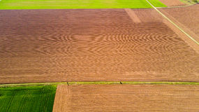 Nature and landscape: Aerial view of a field, cultivation, green grass, countryside, farming, Royalty Free Stock Images
