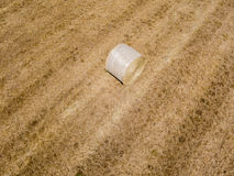 Nature and landscape: Aerial view of a field, haystacks, hay bales Stock Photos