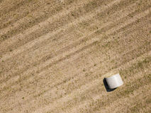 Nature and landscape: Aerial view of a field, haystacks, hay bales Royalty Free Stock Photos