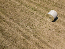 Nature and landscape: Aerial view of a field, haystacks, hay bales Royalty Free Stock Photography