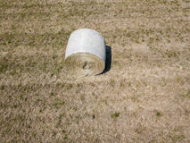 Nature and landscape: Aerial view of a field, haystacks, hay bales Stock Photo