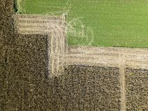 Nature and landscape: Aerial view of a field. Cultivation, plowed field, countryside, farming stock photo