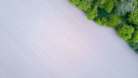 Nature and landscape: Aerial view of a field and trees, cultivation, green grass, countryside, farming, Royalty Free Stock Photos