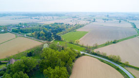 Nature and landscape: Aerial view of a field and trees, cultivation, green grass, countryside, farming, Stock Image