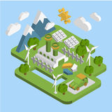 Nature landscape . Apartment 3d isometric ecology. Green energy consumption of renewable energy sustainable development web processing infographic vector Stock Images