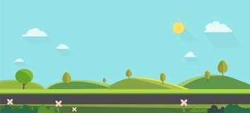 Nature landscape background. cute flat design.Green Hills with blue sky.Public park with nature and street. Vector illustration vector illustration