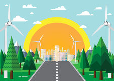 Nature landscape background flat design. Road from nature to green city with eco friendly concept.Vector illustration Stock Images