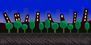 Nature landscape, background for games, trees, city. Royalty Free Stock Photos