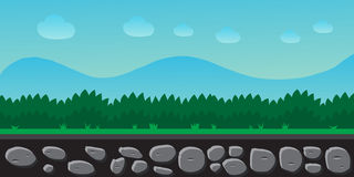 Nature landscape, background for games, trees, mountains. Royalty Free Stock Image