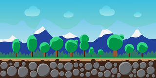 Nature landscape, background for games, trees, mountains. Royalty Free Stock Images