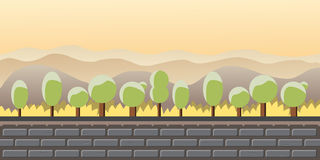 Nature landscape, background for games, trees, mountains. Stock Photo