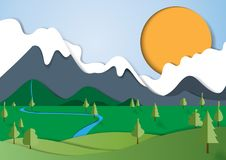 Nature landscape paper art style. Nature landscape background paper art style with mountains,forest and river.Save the world and environment conservation Stock Images