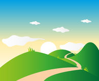 Nature Landscape Background. Vector illustration of nature background with a lonely road Royalty Free Stock Photos