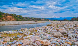 Nature Landscape. Beautiful panoramic view of Corbett forest outskirts, India Stock Images