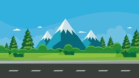 Nature landscape. beautiful scenary with flat Cartoon design Stock Photography