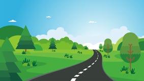 Nature landscape. beautiful scenary with flat Cartoon design Royalty Free Stock Photos