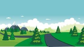 Nature landscape. beautiful scenary with flat Cartoon design Stock Photos