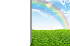 Nature landscape with blank white half Stock Photos