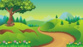 Nature landscape, cartoon game background Stock Image