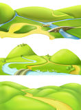 Nature landscape, cartoon game backgrounds. Vector set stock illustration
