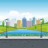 Nature Landscape with City background. Lovely Nature Landscape with magnificent building on the City background vector illustration