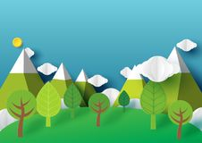Nature landscape and cityscape paper art style vector illustration