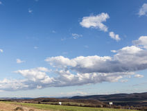 Nature landscape and cloudy sky background, distant shot Royalty Free Stock Image