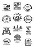 Nature landscape company vector icons set. Parks and garden landscape or green gardening national association or horticulture company icons set. Vector symbols Stock Images