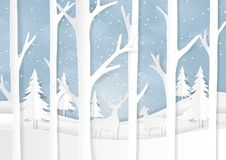Nature landscape on winter season paper art background Stock Images