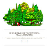Nature landscape design elements isolated with green trees, grass bush and animals. Stock Photography