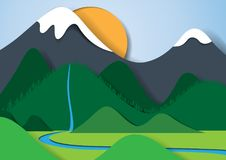 Nature landscape paper art style. Nature landscape and ecosystem concept paper art style.Save the world with forest,mountains,sun and sky.Vector illustration royalty free illustration