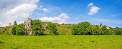 Nature landscape Eselsburger Tal, Swabian Alps, Germany. Valley Eselsburger Tal panorama - impressive rocks near river Brenz - jewel of the swabian alps Stock Photo