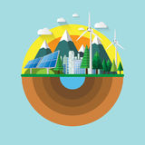 Nature landscape flat design. Eco friendly and renewable energy environment conservation for green city.Vector illustration Royalty Free Stock Images
