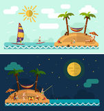 Nature landscape. Flat design nature landscape illustration with tropical island, sun, palm, hammock, fishing man, swimming man, surfing, moon and clouds. Family Royalty Free Stock Photography