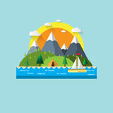 Nature landscape flat design. Summer nature travel with island,mountains,waterfall and tent.Vector illustration Stock Images